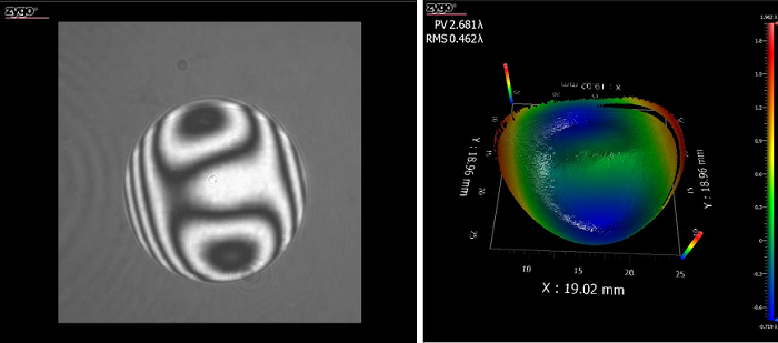 Figure 7: Sample image from an interferometer showing bright areas where the test and reference beams constructively interfered and dark rings where they destructively interfered (left), as well as the resulting 3D reconstruction of the test optic (right)